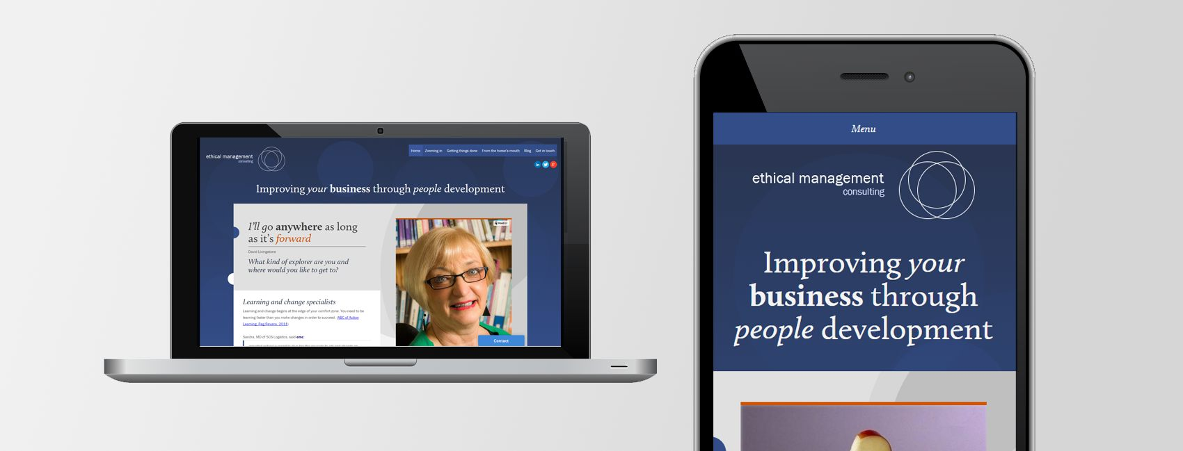 Responsive website design for Ethical Management Consulting